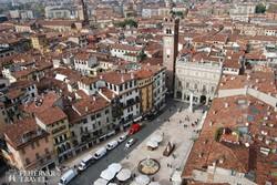 a veronai Piazza Erbe a magasból