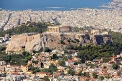 Athén látképe, középen az Akropolisz