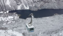 panoráma a Bohinji-tóra a Vogel-hegy kabinos felvonójából