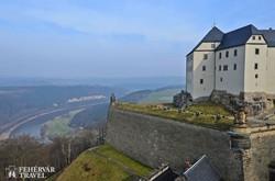 panoráma az Elba völgyére Königstein fellegvárából