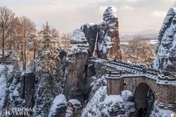 a Bastei sziklavilága téli köntösben