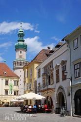 Sopron fő tere a Tűztoronnyal (részlet)