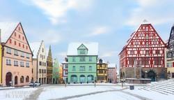 Rothenburg: a Marktplatz téli hangulatban