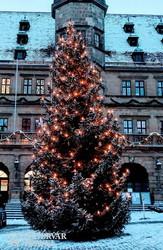 Rothenburg: karácsonyfa a Marktplatzon