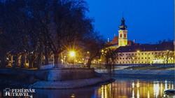 téli este Győr belvárosában