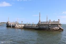 Miami: hajó alakú építmény a Vizcaya-kastélynál