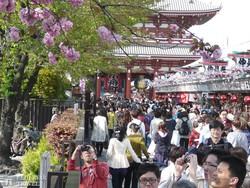 Tokió: nézelődők tömege az Asakusa-templomnál