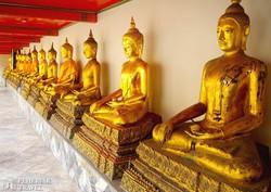 >Buddha-szobrok sora a bangkoki Fekvő Buddha Templomában
