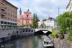 a Hármas híd és a Preseren tér Ljubljanában