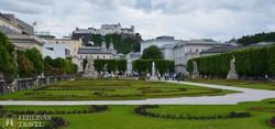 Salzburg fellegvára a Mirabell kastély parkjából