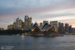 Sydney – az Operaház és a belváros alkonyatkor