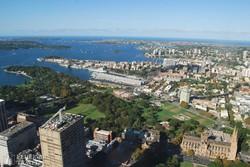 panoráma Sydney-re a Sydney Towerból