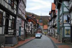 Stolberg: utcarészlet a várostoronnyal