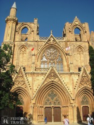a Lala Mustafa Pasa mecset Famagustában (valaha a város keresztény főtemploma volt)