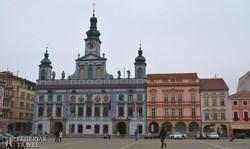 České Budějovice – a címeres városháza a főtéren