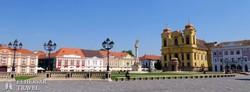 gyönyörű paloták és a Szent György-katedrális Temesvár belvárosában