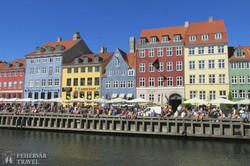 a Nyhavn kikötő színes házai Koppenhágában