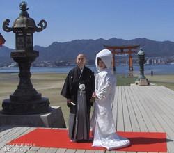 tradicionális esküvő Miyajima szigetén