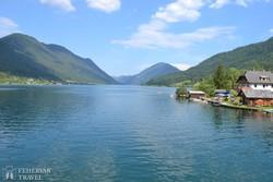 az idillikus szépségű Weissensee (Fehér-tó)