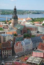 Riga óvárosa a Szt. Péter-templom tornyából