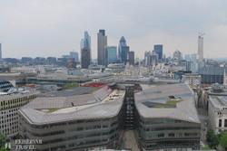 panoráma a City felhőkarcolóira a Szent Pál-székesegyház kupolájából