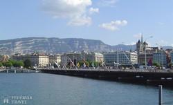 Genf városa a tó felől