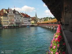 Luzern városa a Kapellbrückéről – részlet