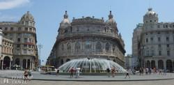 Genova: a Ferrari tér a Tőzsdepalotával