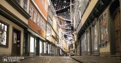 Erfurt: hangulatos utcarészlet adventi fényekkel