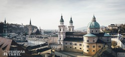 Salzburg – az óváros egy részlete a Dómmal