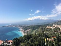 panoráma az Etnára Taorminából