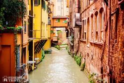 mintha Velencében járnánk – hangulatos csatorna Bologna óvárosában