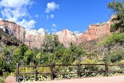 zöld növényzettel borított színes sziklafalak a Zion Nemzeti Parkban