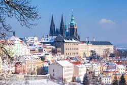 a hóval fedett Prága egy részlete