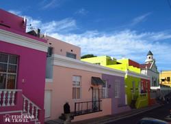 a Maláj negyed színes házai Fokvárosban