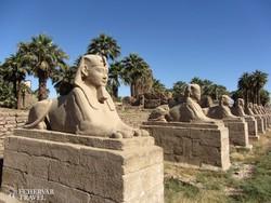 szfinxek sora a Luxori-templom bejáratánál