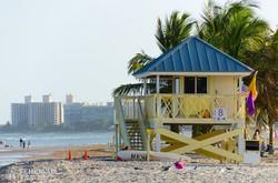 jellegzetes vízimentő ház Miami Beachen