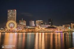 Osaka éjszakai fényárban