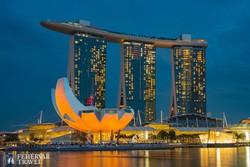 Szingapúr: a Marina Bay alkonyatkor