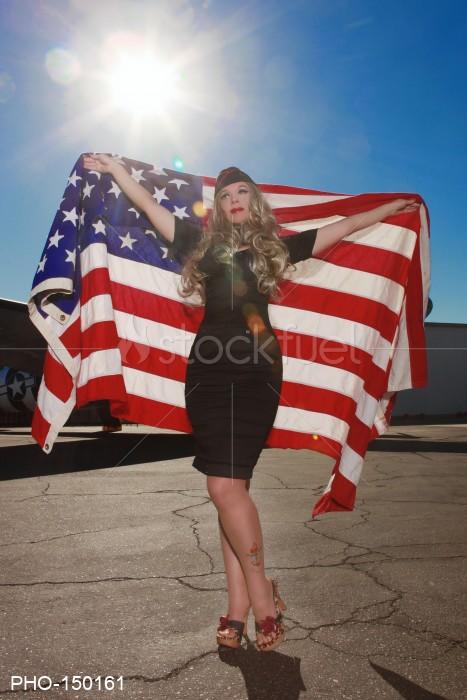 Sexy Girl American Flag
