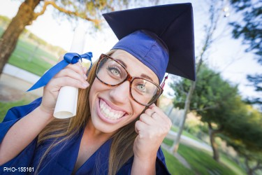 963376d3e2 Expressive Young Woman Holding Diploma