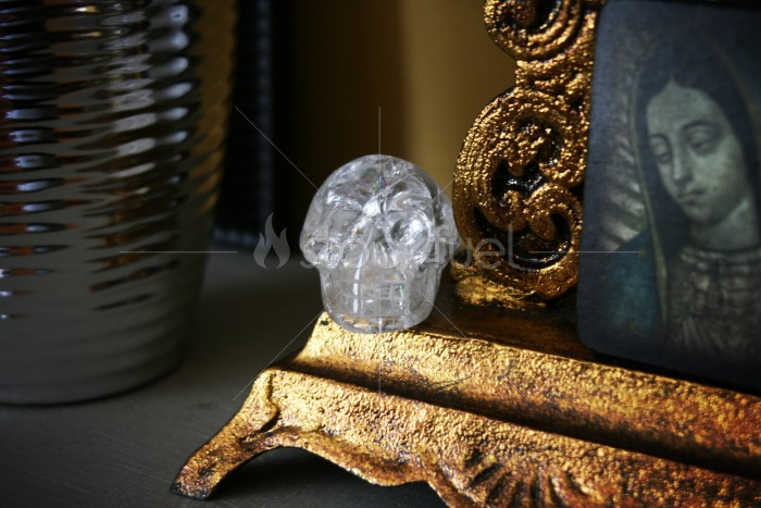 Quartz Crystal Skull Carving
