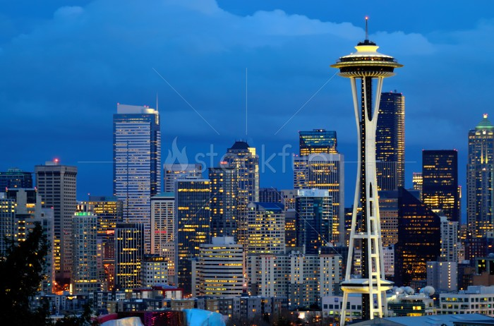 Seattle Space needle at dusk