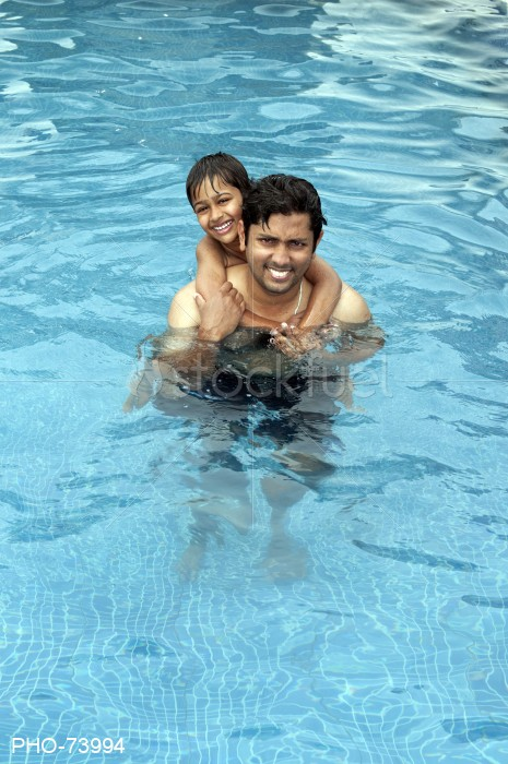 Father and Son Swimming