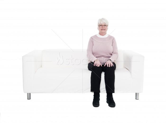 Older Woman on Sofa