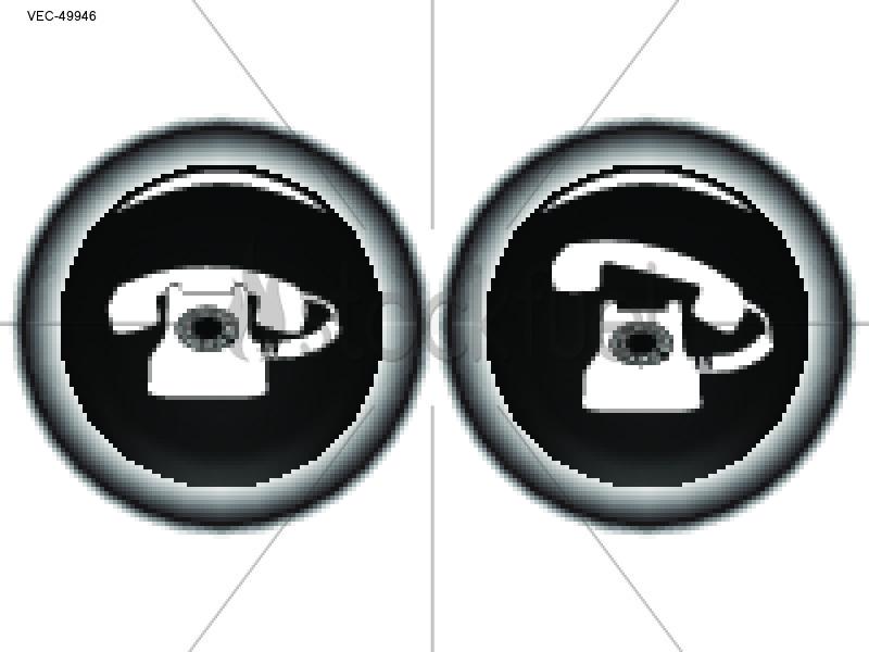 Retro Telephone Icons Glassy Vector Art