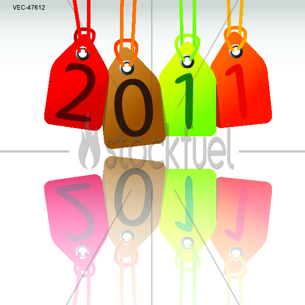 colorful 2011 hanging tags