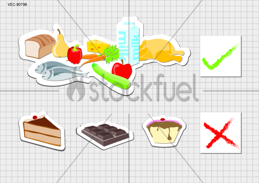 the shape friendly group of food and the