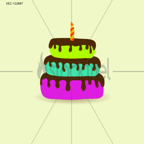 Birthday card with cute cake and candle