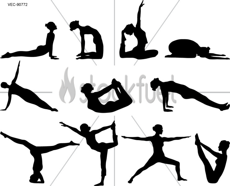 Silhouettes of yoga positions on white b